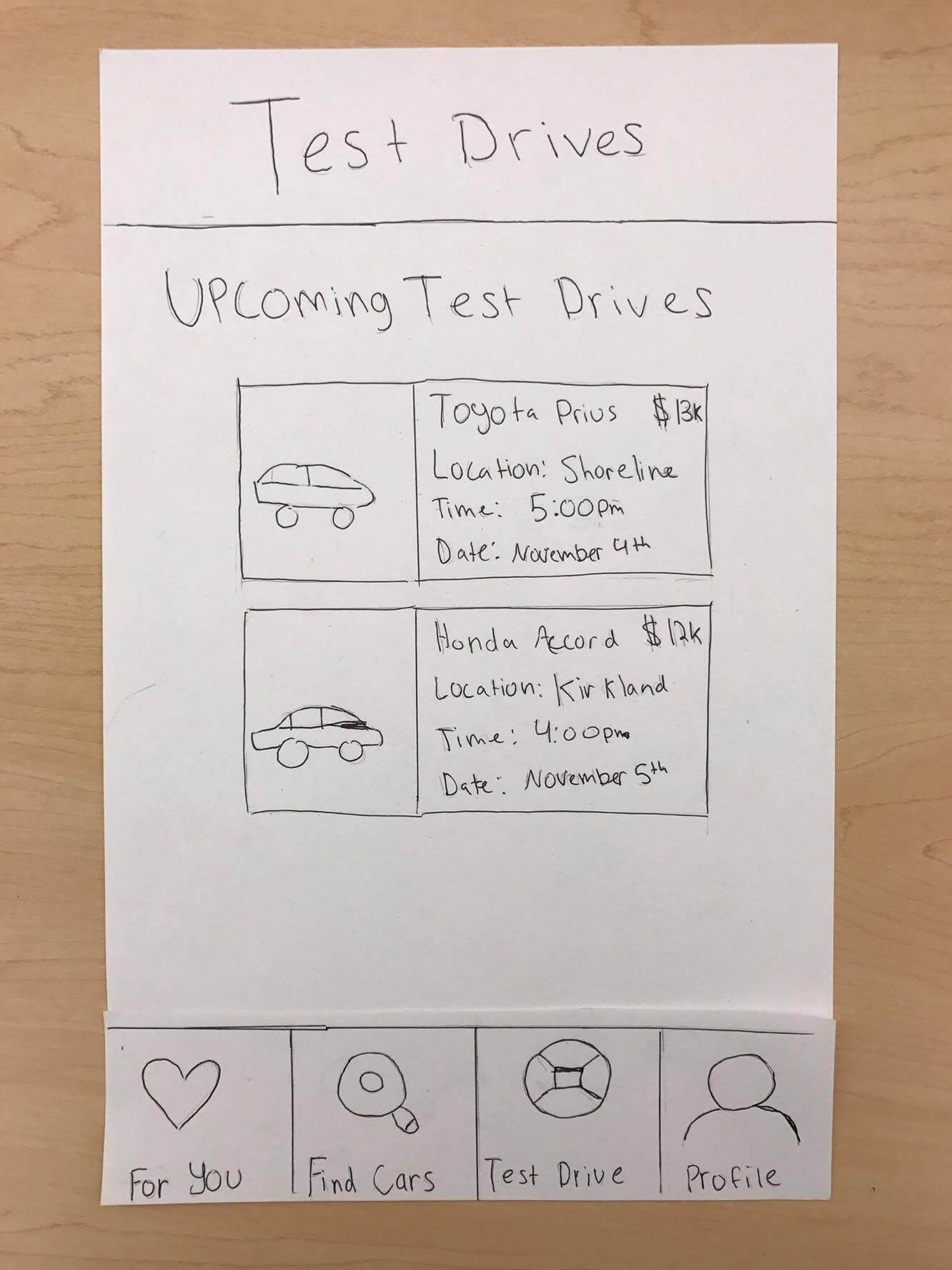 A sketch showing the scheduled test drives page