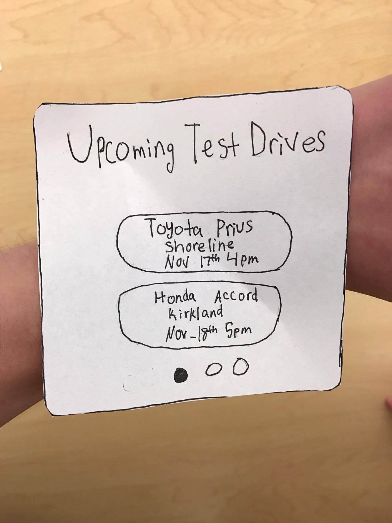 A sketch showing that scheduled test drives can also be viewed on an Apple Watch