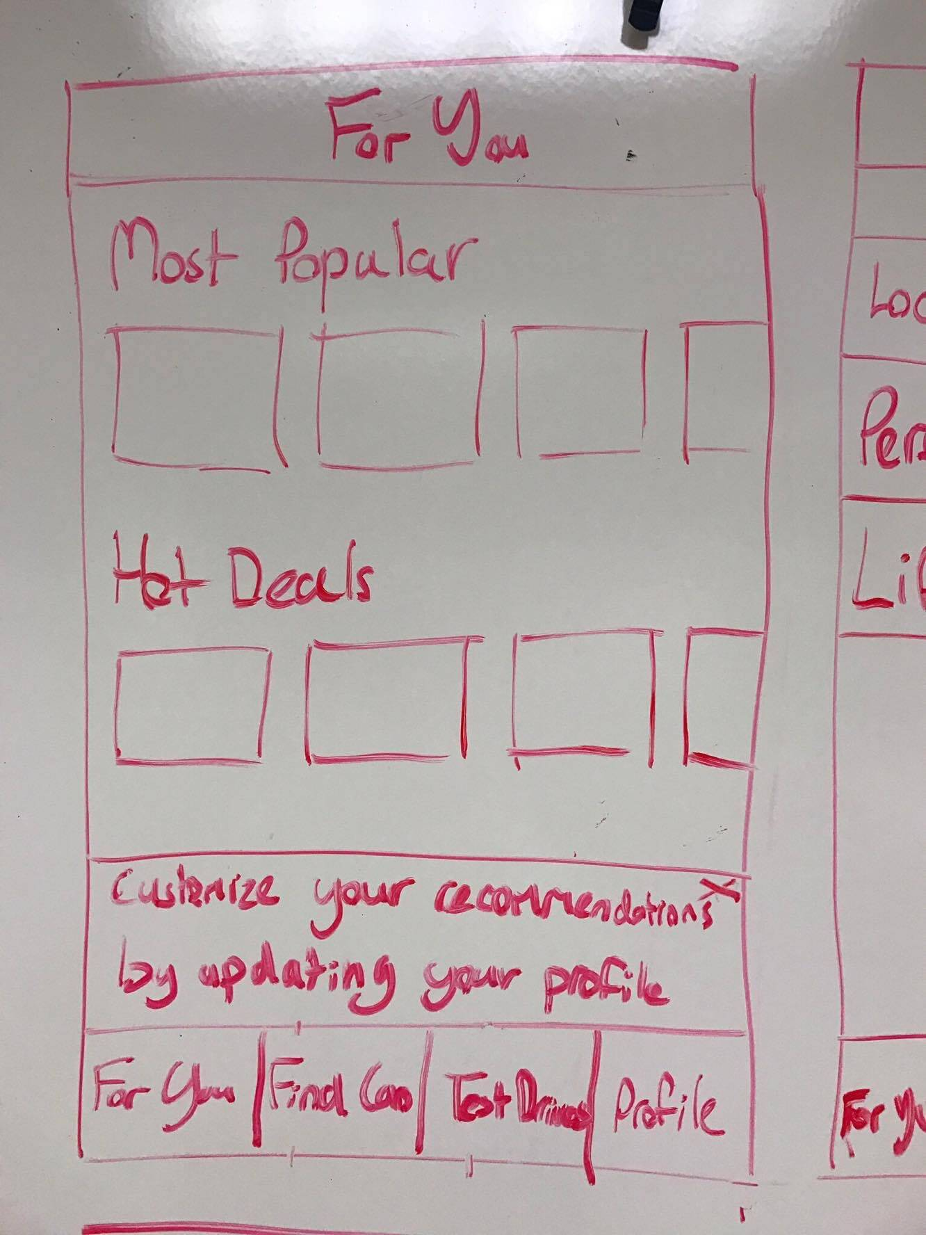 A whiteboard drawing showing the For You page