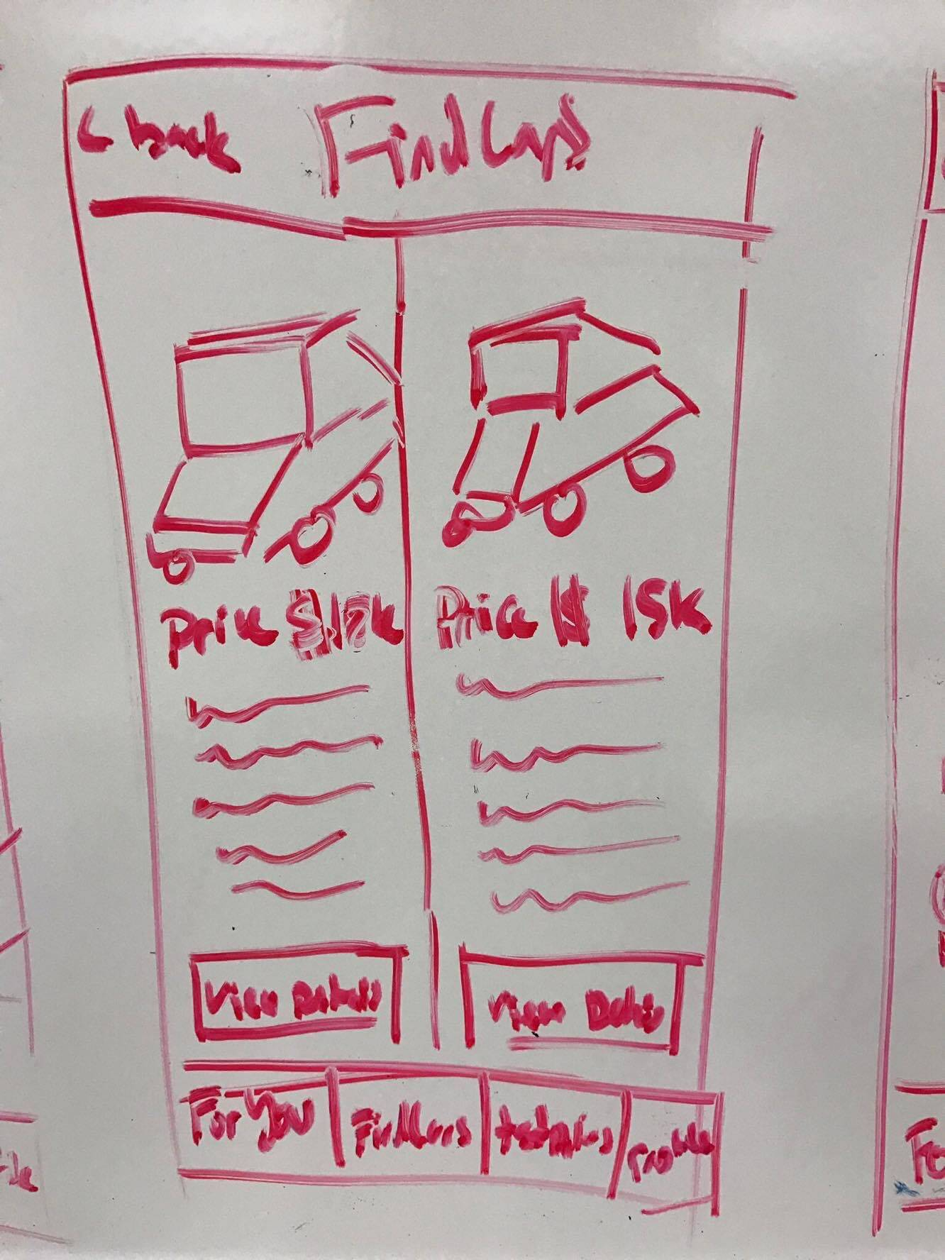 A whiteboard drawing showing cars being compared to each other