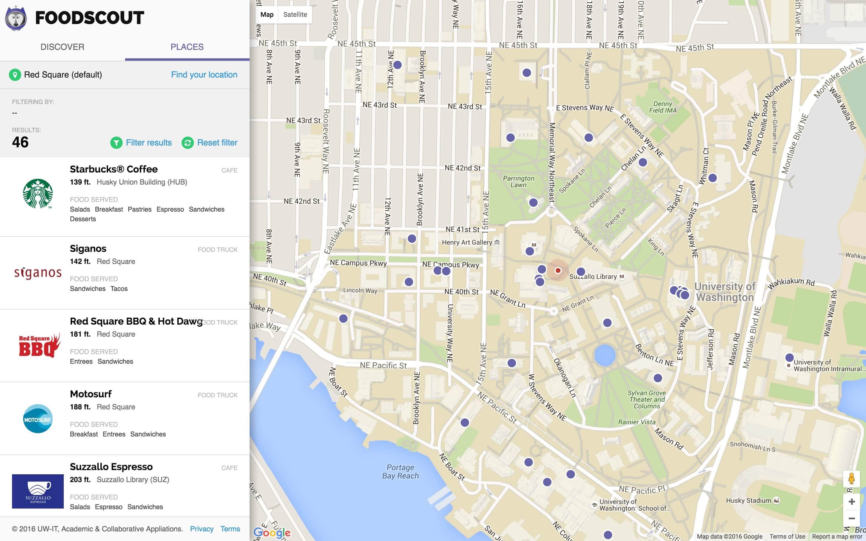The places page that we used in our second study. This page failed to help users find specific places to eat near them